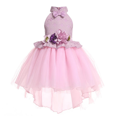 Girls High-end Drag-tail Lace Beauty Ball Dress Fashion Elegant Flower Girl Princess Host Wedding Bridesmaid Banquet Dress