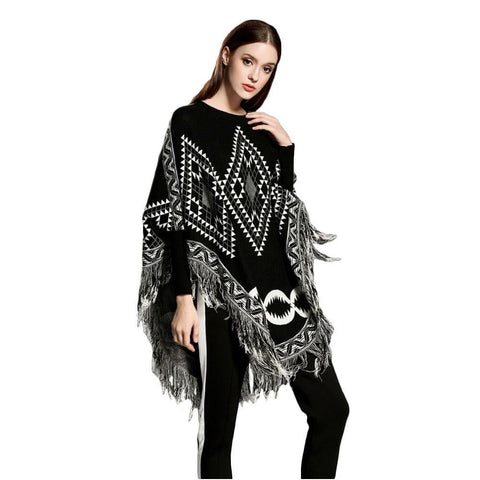 Autumn Winter Sweater Women O Neck Batwing Sleeve Tassel Pullover Loose Poncho Capes Knitted Pull Femme S25