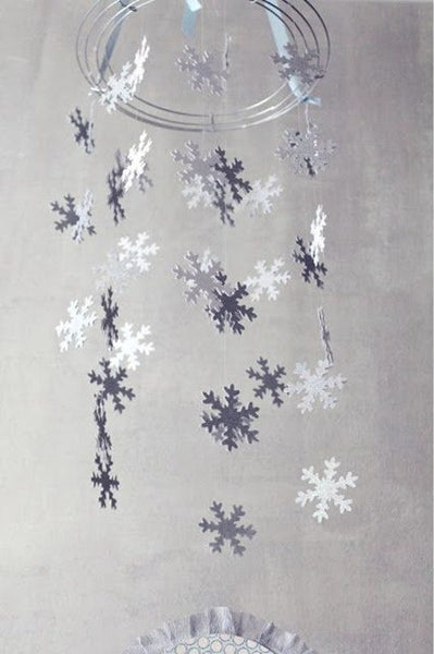 Pack 8 Romantic Silver/Gold Snowflake Wall Hanging Decoration Sartificial Snow Wedding Christmas Home Party  Supplies