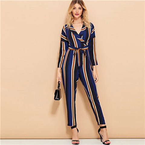 V neck Long Sleeve Knot Striped Sexy Women Jumpsuit Autumn Casual Overalls For Women Elegant Female Jumpsuits