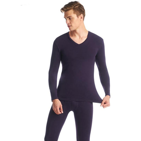 Thermal Underwear Set V-neck Cotton Color Long Johns Men Winter Warm Lycra Underwear Pajama Roupa Termica Undershirts