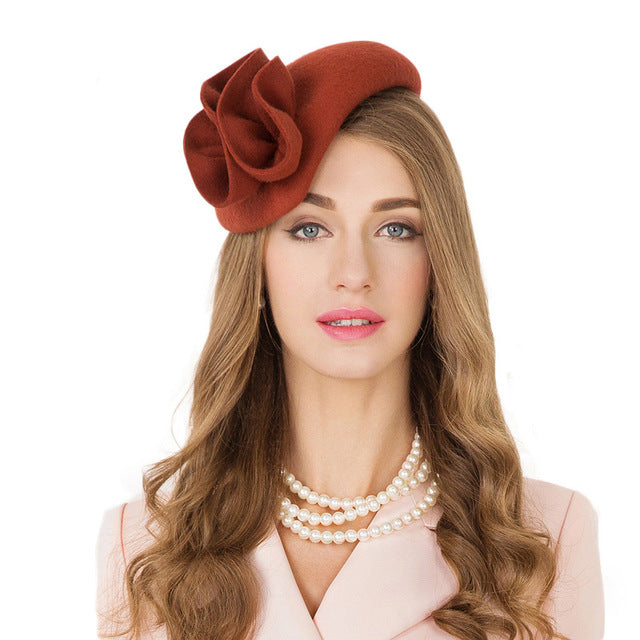 9c3fdbfa6 JOHNKART.COM. $59.11 USD. FS Ladies Wool Cocktail Hat Wedding Fascinator  Hats For Women Formal Pillbox Felt Tea Party Flower ...