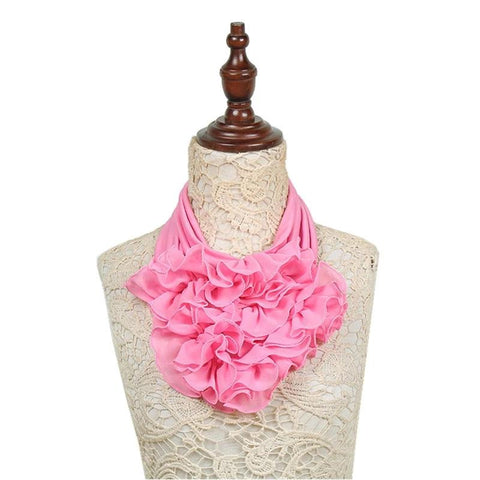 New Solid Color Floral Collar Scarf Luxury Brand Scarf Women New Fashion Neckerchief Ring Scarves Neck Scarf For Ladies