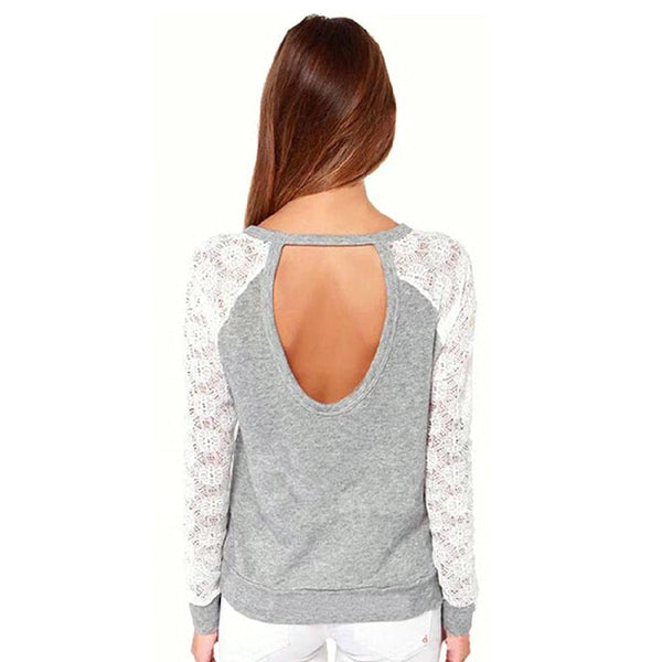 Women Fashion T-shirt Lace Patchwork Backless Shirt Tops Casual Camisas Femininas