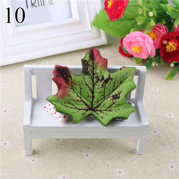 50PCS/lot Artidicial Silk Maple Leaves Fake Fall Leaf For Art Scrapbooking Wedding Party Decoration Craft Flores 4057