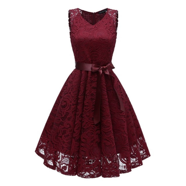Short Lace Plus size Cocktail Dress Women Knee Length Formal Gown V Neck Cocktail Party Dresses Vestido Coquetel With Sash