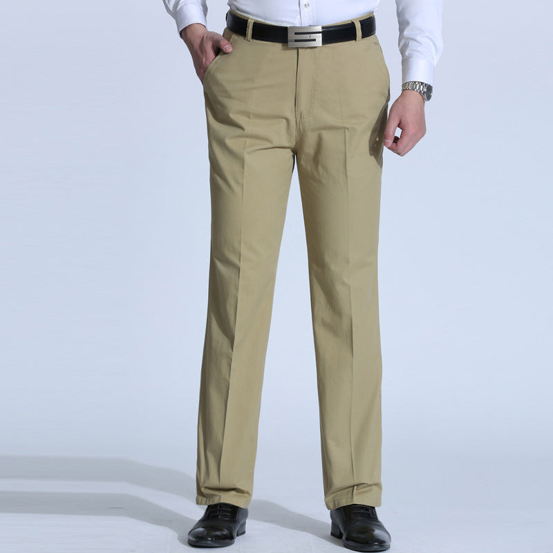 Smart Casual Pants Men Middle Age Dad Men High Waist Straight