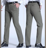 Smart Casual Pants Men Middle Age Dad Men High Waist Straight Trousers Loose Plus Size Mens Clothing Suit Pants