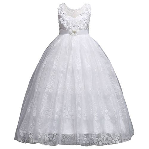 Princess Long Lace Flower Girl Dresses Applique Girls Pageant Dresses First Communion Dress Kids Wedding Party Gown