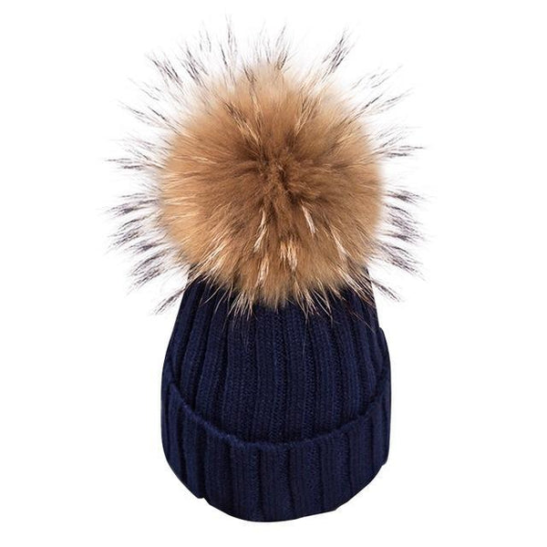 Removable real fur Bobble hats for women skullies beanies Warm stocking hat autumn cap winter hat female
