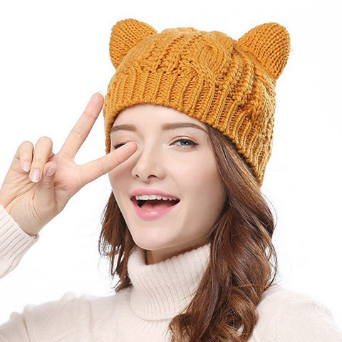259dcd38e99 Cat Ears Cute Hats for women brand knitting warm lovely Beanies Winter  knitted Cap Valentine s Day