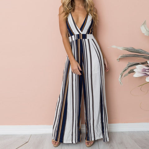 ddaf4f4f4aca Jumpsuit Summer Women Sleeveless Print Casual Clubwear Wide Leg Holiday  Long Playsuits Trouser Jumpsuit combinai