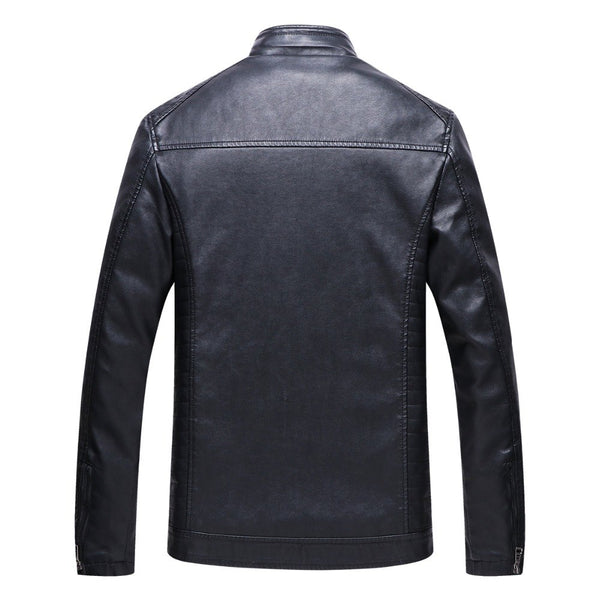New Winter Men Motorcycle Keep warm Leather jackets Fashion Brand Men's Fleece Solid color Leather jacket Coat