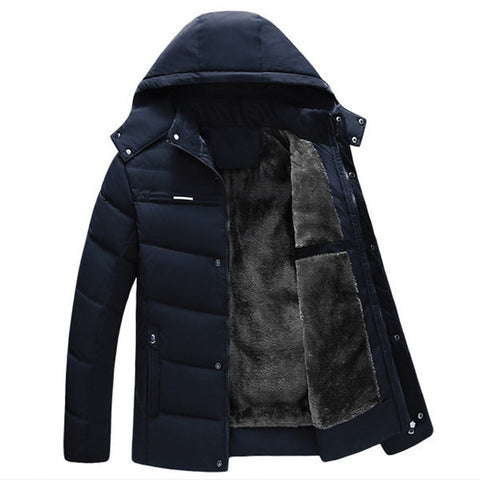 Thicken Winter Jacket Men Parka Cotton Padded Warm Fleece Lined Man Coats Hooded Middle Long Loose Outerwear XL-4XL Plus Size