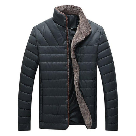 Men Parka Coat Winter Fleece Jackets Coat Men Warm Cotton-Padded Outwear Casual Windbreak Thick Parkas Stand Collar