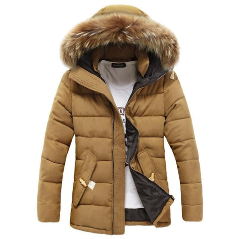 Men Winter Down Cotton Coat Fashion Big Fur Hooded Jacket Warm Casual Overcoat Jackets Thicken Long Parkas Christmas