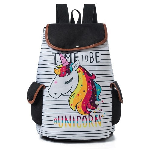 Cartoon Unicorn Printed School Backpack For Teenager Drawstring Design Female Travel Rucksack Canvas Backpack Lady