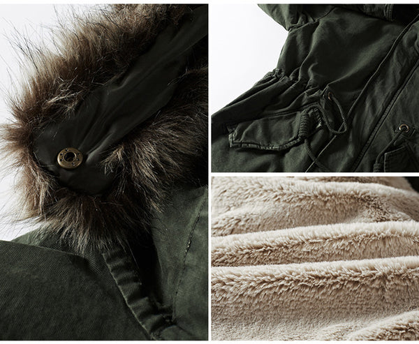 Fashion Thick Warm Men Parka Fur Collar Winter Plus Size Parka Coats High Quality Hooded Windproof Cotton Long Jacket Overcoat