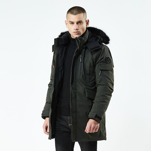 Fur Collar Male Winter Warm Parka Army Green Jacket Men Fashion Casual Loose Mens Jacket Mens Long Coats AXP154
