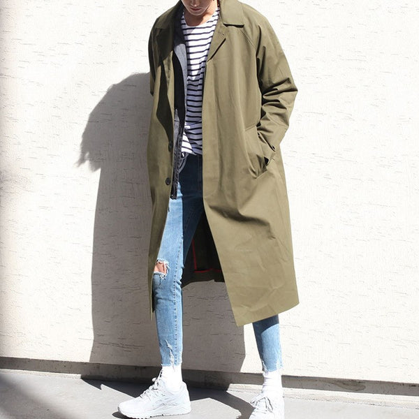 Male Solid Casual loose Jacket Khaki/black Outerwear Overcoat Men Style Long Trench Cardigan Coat