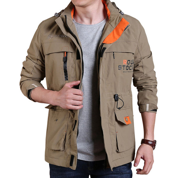 New Men's Waterproof Windproof Trench Coats Fashion Detachable Hooded Jackets Men Spring Autumn Trench Coat Brand Clothing