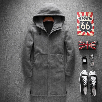New Men's Trench Coats 2018 Autumn Mens Wool Trench Coat M-4XL Hooded Windbreakers Masculino Good Quality Jackets men