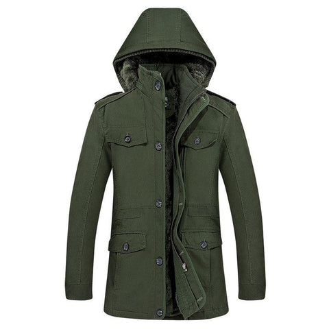 Mens Hooded Trench Coats Winter Plus Velvet Thicker Warm Men Cotton Long Jackets Coat Casual Slim Fit Windbreaker Overcoat