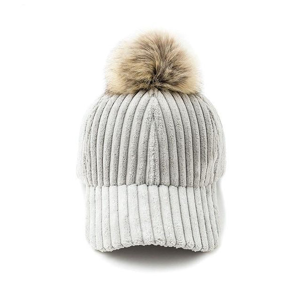 Corduroy hair ball adjustable baseball caps Fashion style autumn winter women hat Female casual hat casquette