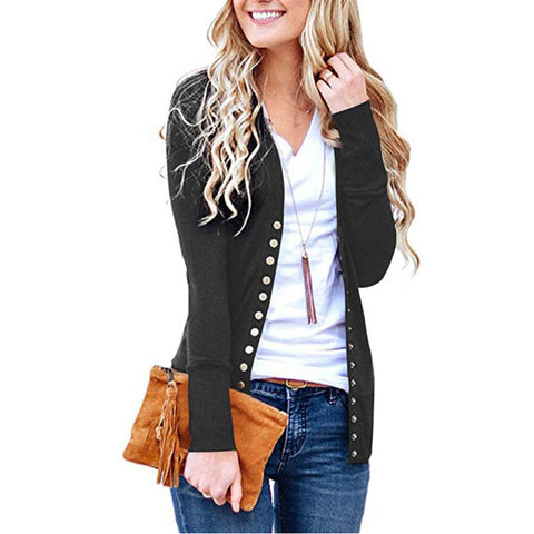 Women Sweater Cardigan Ladies Autumn Long Sleeve Black Elegant Sueter Mujer Open Stitch Slim Outwear Knit Coat