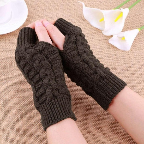 Autumn Winter Women Warmth Knitted Arm Fingerless Gloves Long Stretchy Mittens Men Women Winter Hand Arm Warm Female Gloves