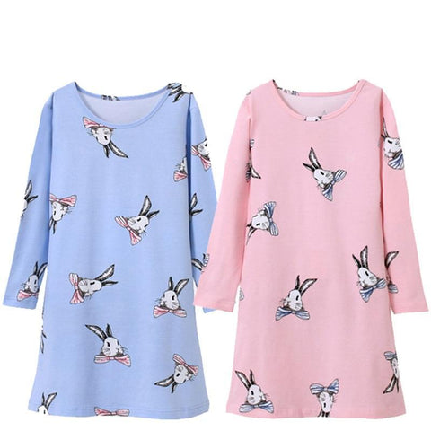 4-14 years long-sleeves cotton children's home wear nightdress girl baby pajamas autumn fall spring cartoon