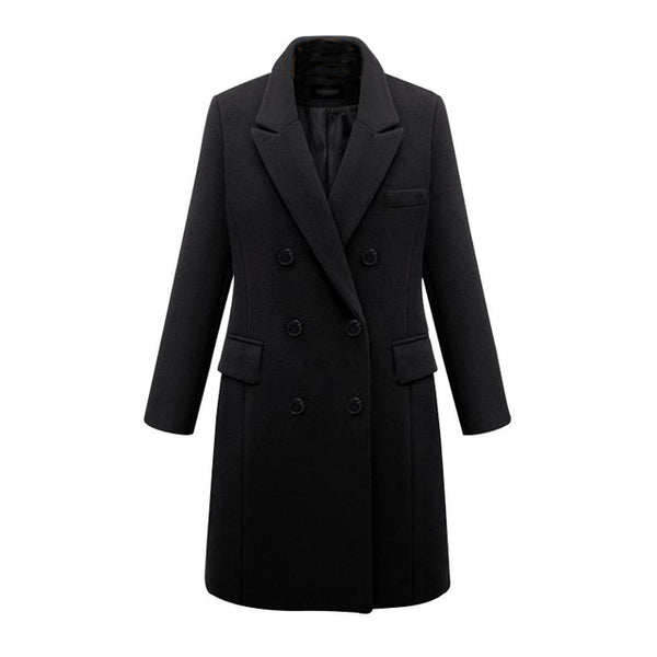 Elegant Turn Down Collar Warm Winter Wool Blends Female Black Pockets Long Coat Women Casual Autumn Overcoat Outerwear