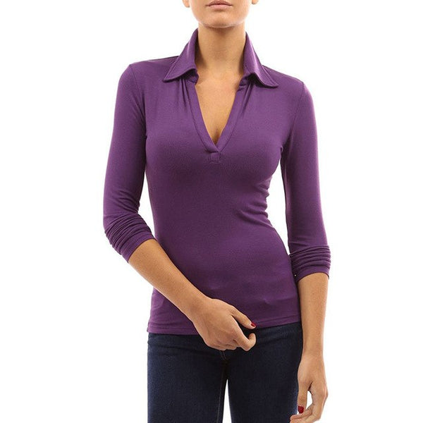 Blusas Top Leisure Women Lapel Low Cup Long Sleeve Stretch Shirts Spring Sexy Solid Party Slim Fit Pullover Top