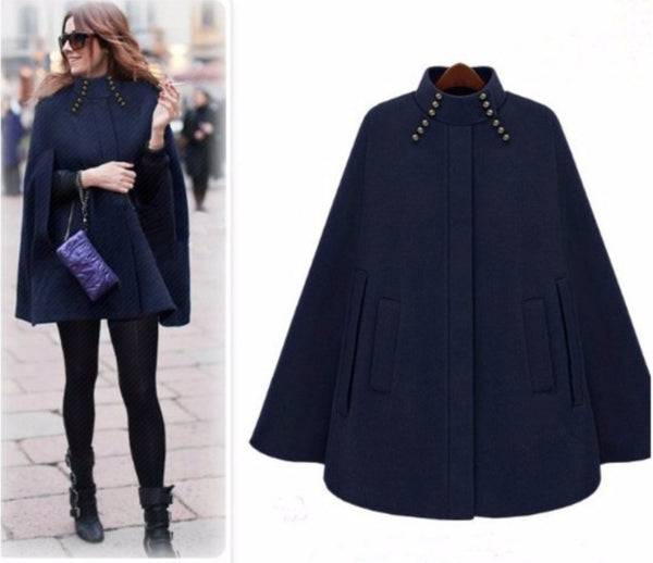 Woman Winter Turtleneck Sleeve Long Cape England Style Vintage Woolen Coats Loose High Street Luxury Winter Cape