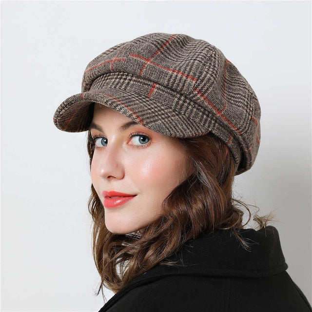 look out for biggest discount online store Women Baseball cap For Winter Female Cotton Hats Plaid Vintage Fashion  Octagonal Casual boina Autumn 2018 Brand New Women's Caps