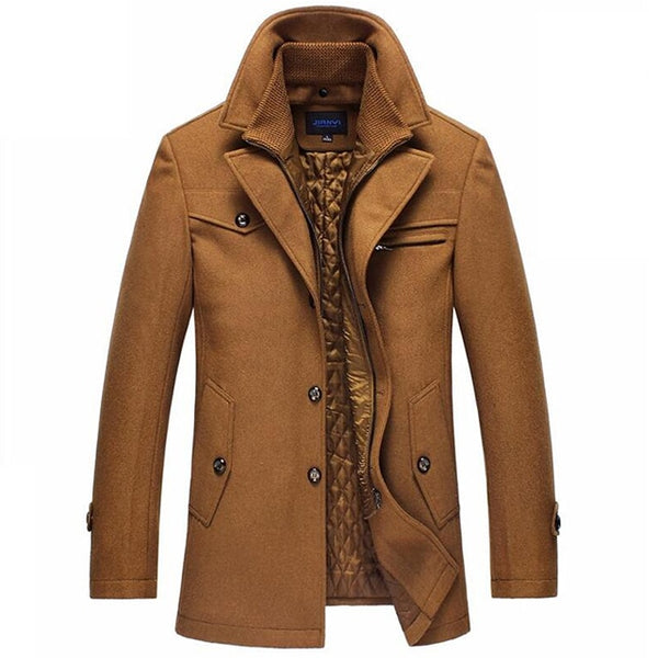 Trench Coat Men Winter Thick Windbreaker Long Woolen Overcoat  Masculino Palto Casaco Jaket Mens 4XL Trench Wool Jackets