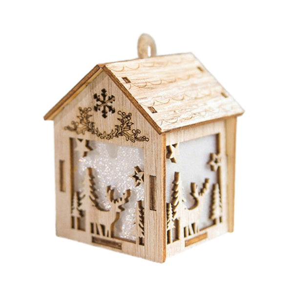 Christmas LED Light Wooden House Showcase Storage Shelf Christmas Tree Holiday Decoration Hanging Decor with Light Lamp