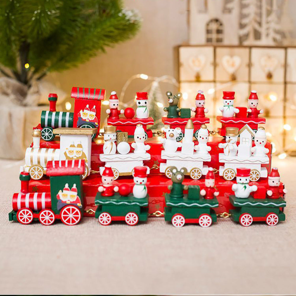 christmas train painted wood childrens toys gift new year christmas decoration for home indoor navidad 2018 - Christmas Train Decoration