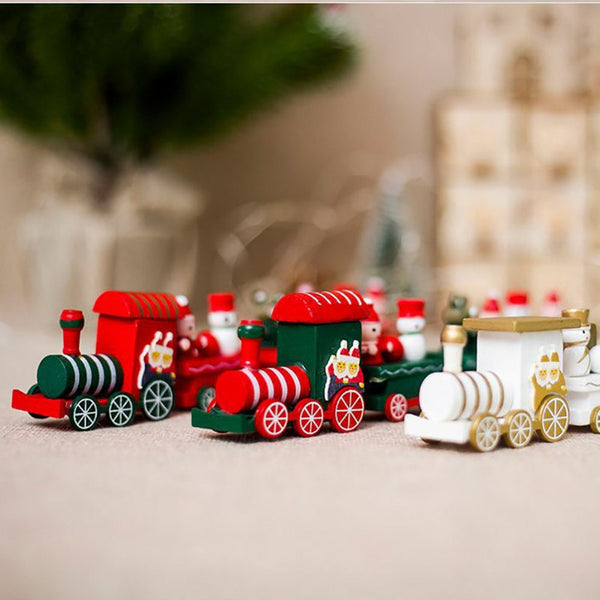 Christmas train painted wood Children's Toys gift New Year Christmas Decoration for Home Indoor navidad 2018 Wooden train Decor