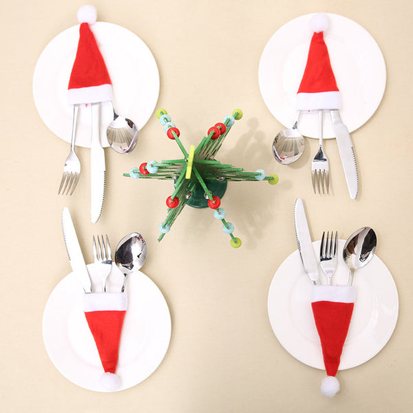 4pcs Christmas Hat Santa Sacks Knife Fork Holder Tableware Bag Decoration for Home Noel New Year Dinner Table Cristmas Ornaments