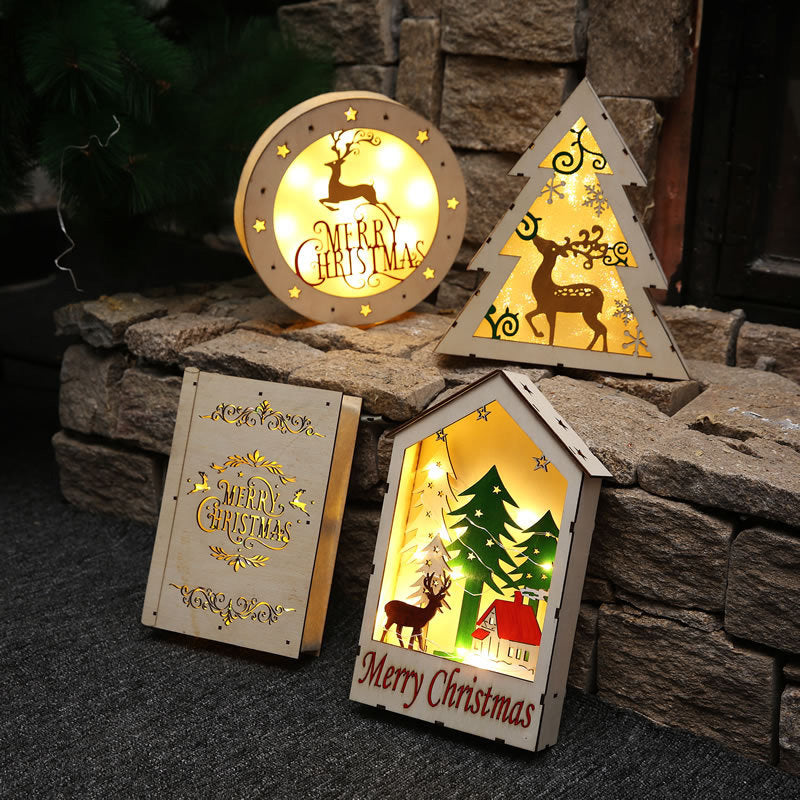 christmas decorations for home led wooden house ornaments luxury christmas gifts for friend new year showcase - Wooden Led Christmas Decoration