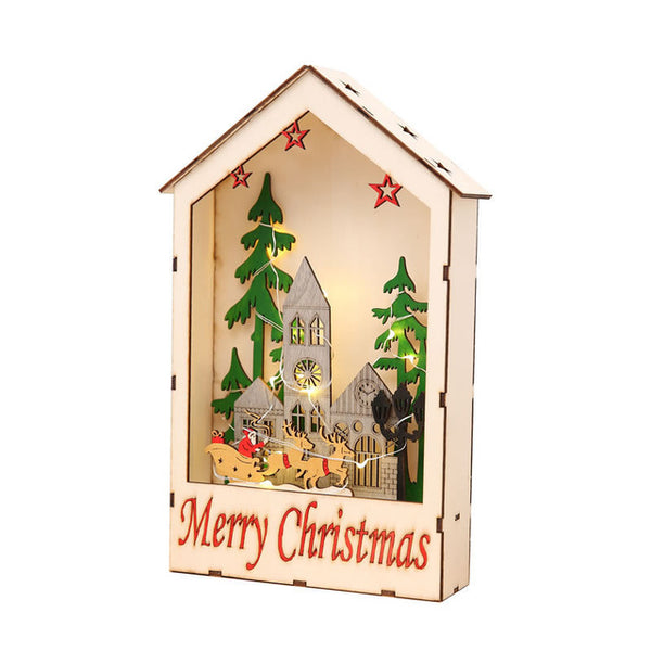 Christmas Decorations for Home LED Wooden House Ornaments Luxury Christmas GiftS For Friend New Year Showcase Kids Bedroom Decor