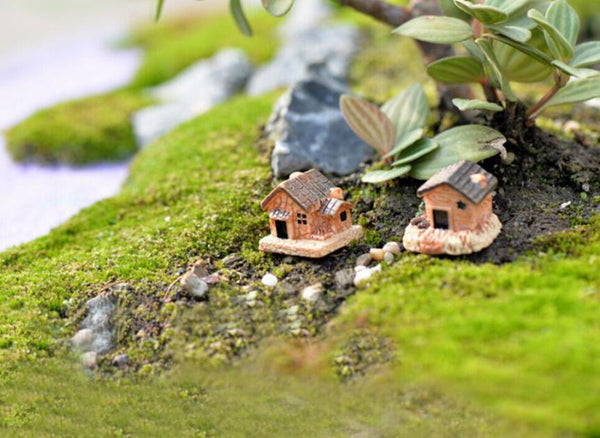 Mini Dollhouse Stone House Resin Decorations For Home And Garden DIY Mini Craft Cottage Landscape Decoration 4.18