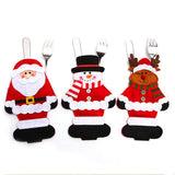 Christmas Supplies Cutlery Bag Santa Claus Snowman Elk Cutlery Set Christmas Knife And Fork Bag 3 Decorative Party Cloth Section