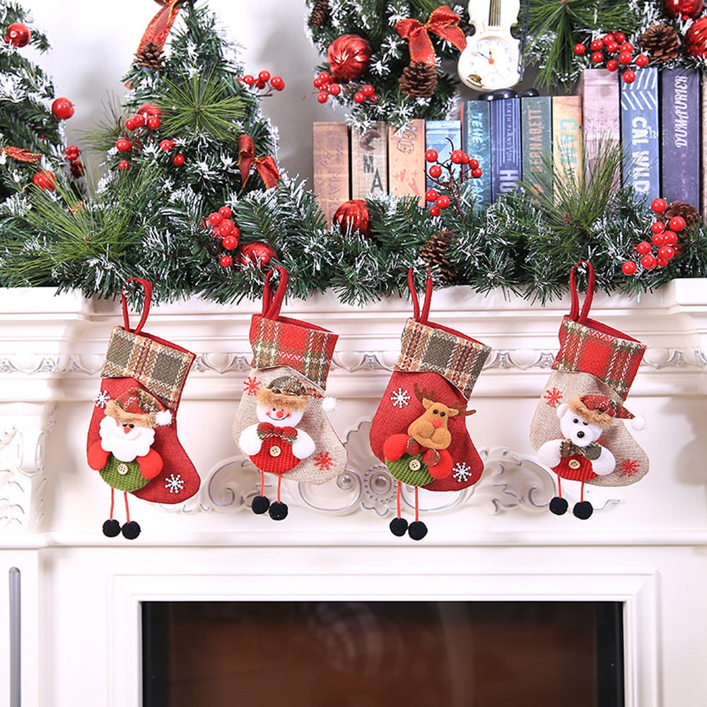 mini christmas stockings socks santa claus candy gift bag christmas decorations for home festival party ornaments
