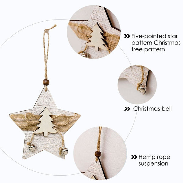 2PCS/Pack Christmas Bell Wooden Hanging Card Christmas Tree Innovative Wooden Hanging Card Christmas Decoration