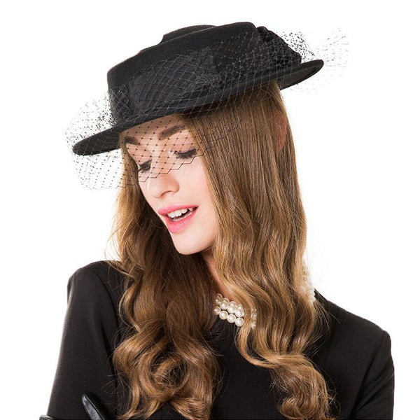 FS Ladies Felt Hats With Flower Veil Winter Wool Black Fedora For Women Fascinator Flat Wide Brim Church Vintage Cloche Hat
