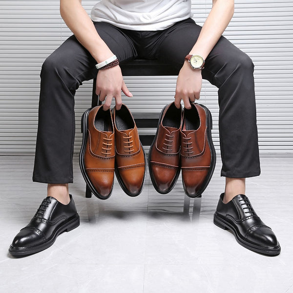 Men Casual Dress Shoes Male Oxfords Office Shoes Men Wedding Party Leather Shoes Fashion British Style 2018