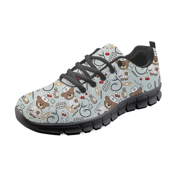 Cute Cartoon Nurse Pattern Woman Flats Shoes Fashion Brand Nursing Design Lace-up Sneakers Casual Walking Footwear