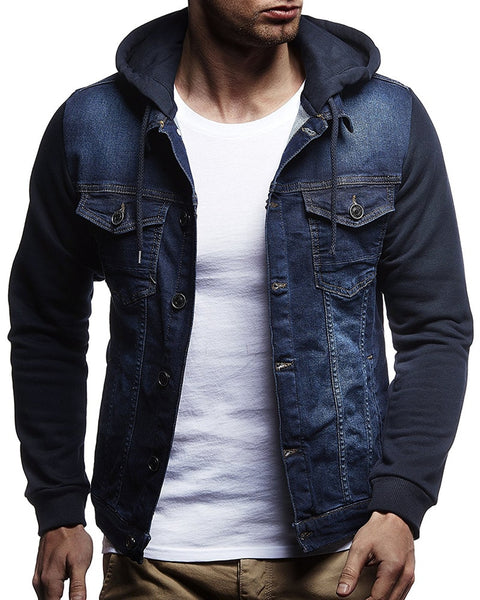 New arrival Patchwork Denim Jackets Men Outerwear Fashion Casual Hooded Jacket Cotton elasticity Slim Fit Coats Large